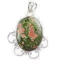 Design 5154: green,red unakite pendants