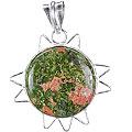 Design 5155: green,red unakite pendants