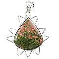 Design 5221: green,red unakite pendants