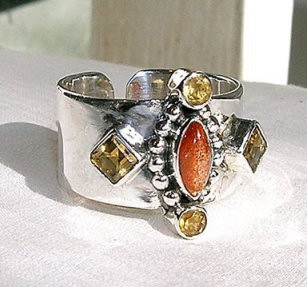 Design 1701: orange,yellow sunstone rings