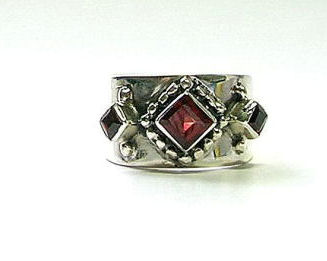 Design 1709: red garnet gothic-medieval rings