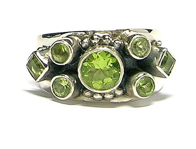 Design 1712: green peridot rings