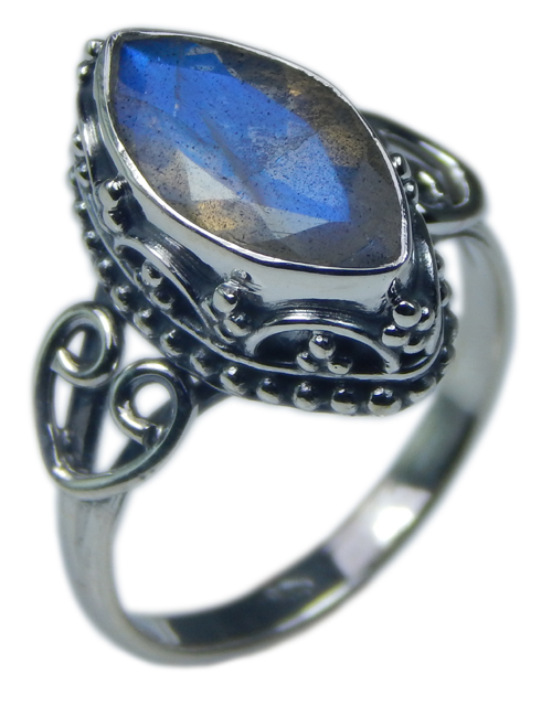 Design 21558: blue,gray,yellow labradorite rings