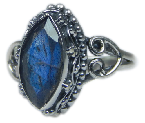 Design 21576: blue,gray labradorite rings
