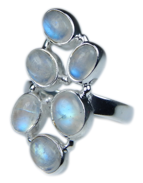 Design 21645: blue,white moonstone rings
