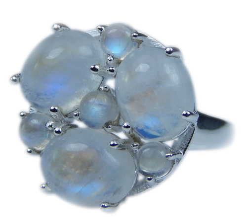 Design 21650: blue,white moonstone rings