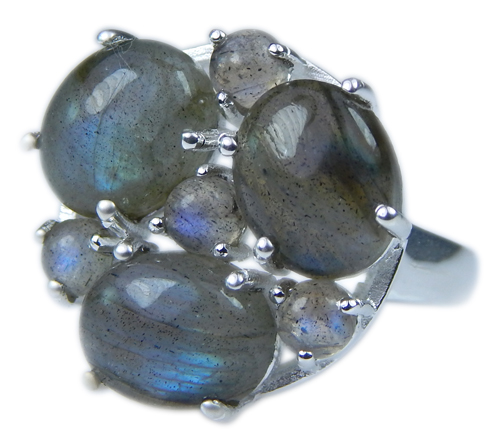Design 21665: blue,gray labradorite rings