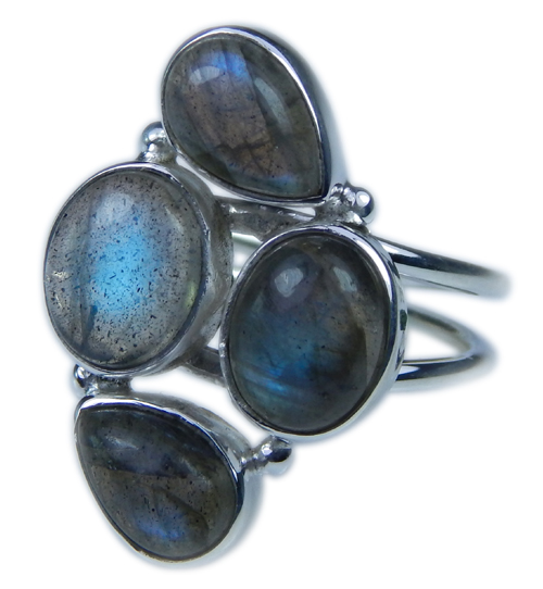 Design 21666: blue,gray labradorite rings