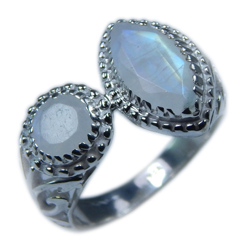 Design 21672: blue,gray,white moonstone rings