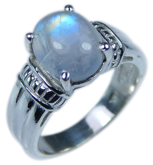 Design 21675: blue,gray,white moonstone rings