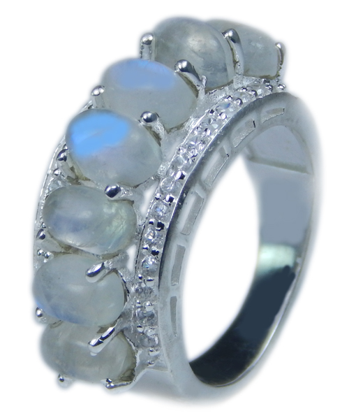 Design 21713: blue,white moonstone rings