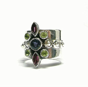 Design 3083: multi-color iolite rings