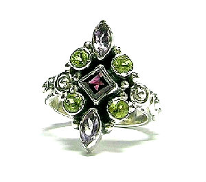 Design 3084: green,purple,red rhodolite rings