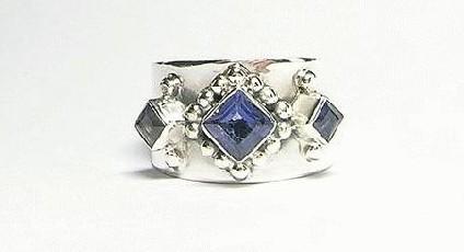 Design 3092: blue iolite gothic-medieval rings