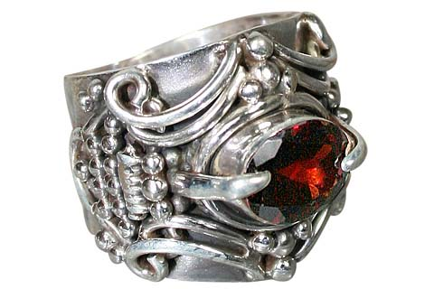 Design 5059: red garnet art-deco, gothic-medieval, mens rings