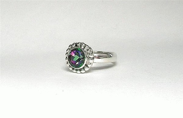 Design 5401: green,pink mystic quartz rings