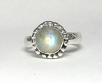 Design 5405: blue,white moonstone flower rings
