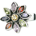 Design 1229: multi-color multi-stone flower rings