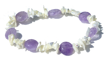 Design 11441: purple,white amethyst chipped, stretch anklets