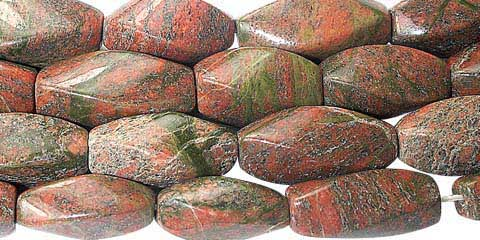Design 11743: green,red unakite faceted beads