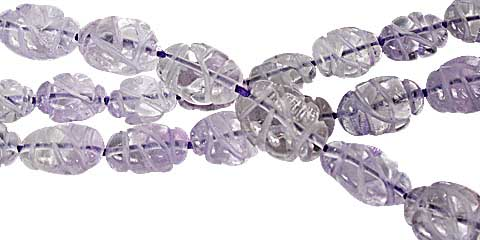 Design 11767: purple amethyst carved, oval beads