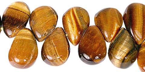 Design 11768: black,brown tiger eye tear-drop beads