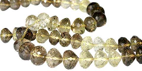 Design 11786: brown,yellow lemon quartz faceted beads