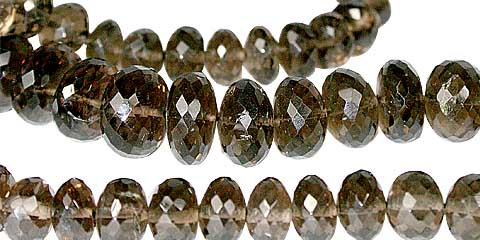 Design 11789: brown smoky quartz faceted beads