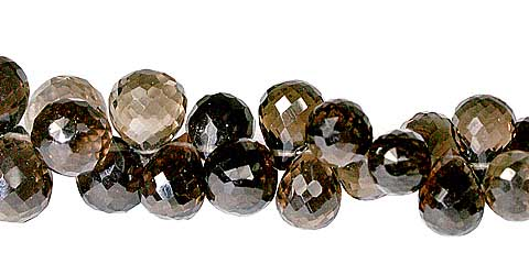 Design 11816: brown smoky quartz briolettes beads