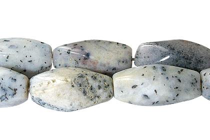 Design 13369: black,white dendrite agate tube beads