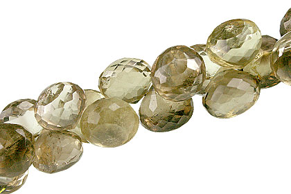 Design 13428: brown,green,yellow lemon quartz briolettes, faceted beads