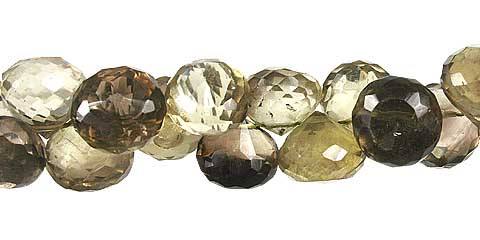 Design 13429: brown,green,yellow lemon quartz briolettes, faceted beads
