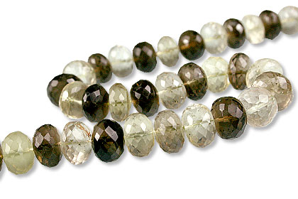 Design 13432: brown,green,yellow lemon quartz faceted beads