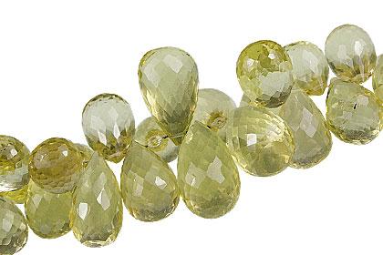 Design 13759: green,yellow lemon quartz briolettes, faceted beads