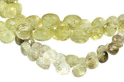 Design 13760: brown,green,yellow lemon quartz briolettes, faceted beads