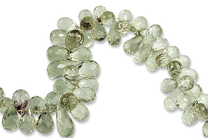 Design 13813: green green amethyst briolettes, faceted beads