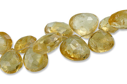 Design 13888: yellow citrine faceted, tear-drop beads
