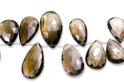 Design 13961: brown smoky quartz faceted, tear-drop beads