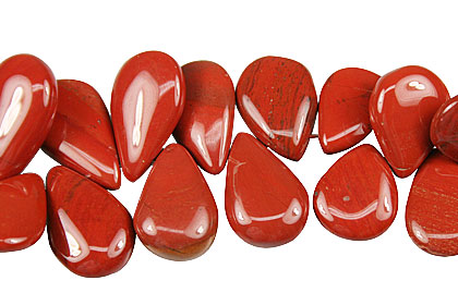 Design 14025: red jasper tear-drop beads