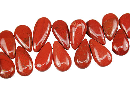 Design 14031: red jasper tear-drop beads