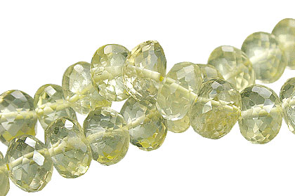 Design 15026: green lemon quartz faceted beads