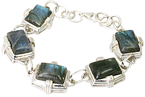 Design 10019: blue,green,gray labradorite art-deco bracelets