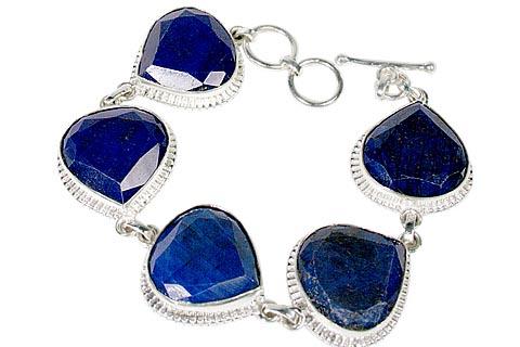 Design 10120: blue sapphire chunky, leaf bracelets
