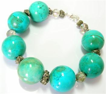 Design 10239: blue,green crystal chunky, gothic-medieval bracelets
