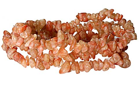 Design 10312: orange sunstone chipped bracelets