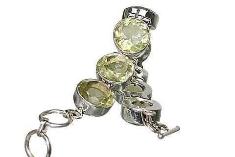 Design 10389: green lemon quartz art-deco bracelets
