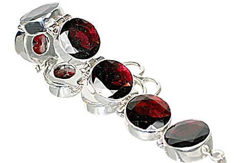 Design 10394: red garnet art-deco bracelets