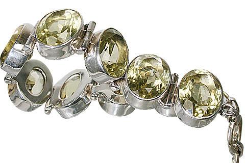 Design 10403: green lemon quartz art-deco bracelets