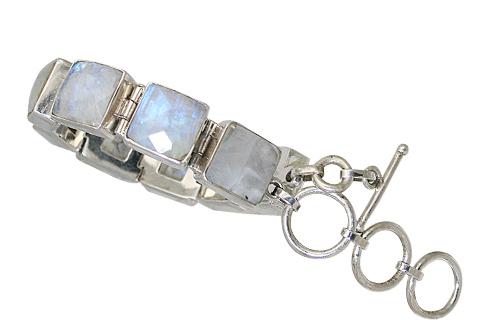 Design 10456: blue,white moonstone art-deco bracelets