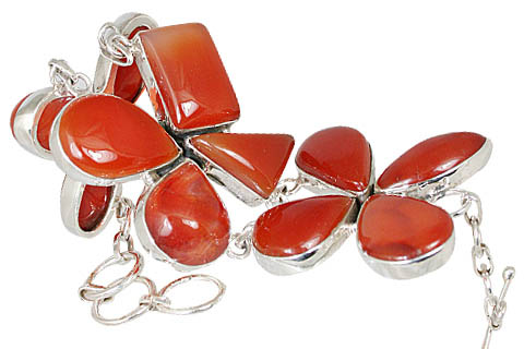 Design 10534: orange carnelian ethnic, flower bracelets
